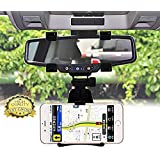 Srmaji Universal 360 Degree Car Rearview Mirror Holder Mirror Mount Rearview Mobile Holder Car Mobile Holder Stand Cradle For All Cell Phones GPS 360 Degree Mobile Phone Car Holder Mirror Navigation GPS Cradle Holder Phone Holder Stand Mirror Mount Car Ho