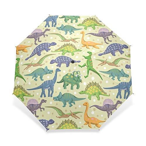 MVBGLK Karikatur-Dinosaurier-Muster-Regenschirm-Kinder kühlen personifizierte tragbare dreifache Faltbare Regenschirm-dekorative Regenschirme ab