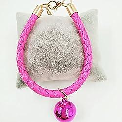 Colgantes ajustables de la PU con el colgante de la campana, - Morbuy - conveniente para los gatos y los perros pequeños, peluche, perrito, fuentes del animal doméstico. (XS, rosa)