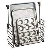 mDesign étagère à suspendre – petite étagère pratique pour placard de cuisine – accessoire de rangement pour planche à découper, livres de cuisine, etc. – couleur bronze