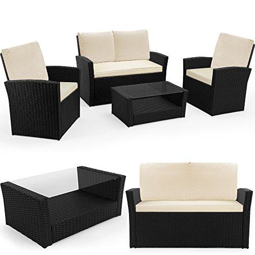 Deuba Poly Rattan 4+1 Lounge Schwarz inkl. 10cm dicke Sitzauflagen creme 2 Sessel + 1 Bank 1 Tisch mit 5 mm Sicherheitsglas Platte wetterfestes Alu-Gestell abnehmbare, waschbare...