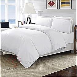 Sunshine Comforts® - Sábanas bajeras ajustables de algodón egipcio 100 % de 400 hilos, 30 cm de profundidad, color blancoDe tejido muy suave, con la calidad de un hotel de lujo., Blanco, Housewife Pair of Pillowcases