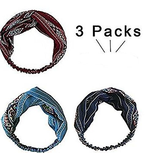 3er Pack Retro elastisches Haarband, Frauen Twisted Turbane Stirnband Boho Floral Cross Foral Kopf Wrap Haarband