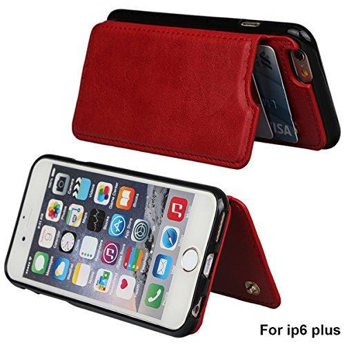 """xhorizon TM Strapazierfähiger stoßfester Brieftasche-Case aus hochwertigem PU-Leder, Rückseite-Folio Flip-Brieftasche-Case mit Kreditkartenschlitzen für iPhone 6 Plus / iPhone6S Plus [5.5""""] mit einem  Rot"""