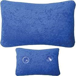 Arsvita Badewannen-Kissen mit Saugnäpfen, weicher Bezug in vielen Farben und Größen, Komfort Badekissen (Größe: 18 x 28cm - Basic Ausführung in der Farbe: dunkelblau)
