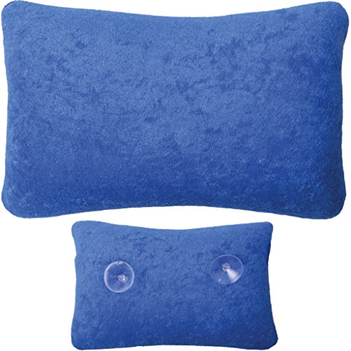 Badewannen-kissen mit Saugnäpfen, weicher Bezug in vielen Farben und Größen, Komfort Badekissen ( Größe: 18 x 28cm - Basic Ausführung in der Farbe: dunkelblau )
