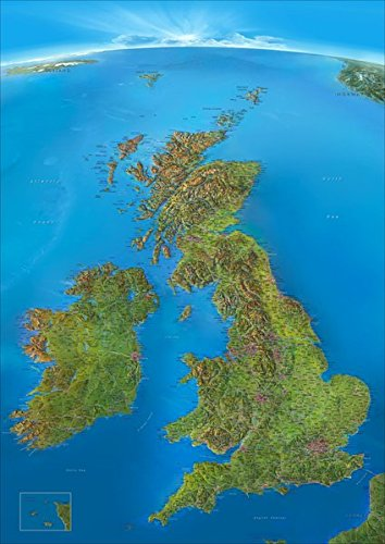 Panoramakarte Britische Inseln: mit Schottland, England, Irland, Wales und Nordirland -