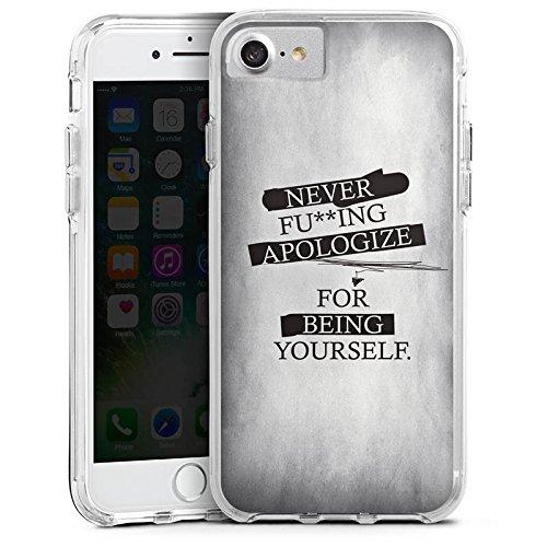Apple iPhone 6 Plus Bumper Hülle Bumper Case Glitzer Hülle Never Apologize Sprüche Sayings Bumper Case transparent