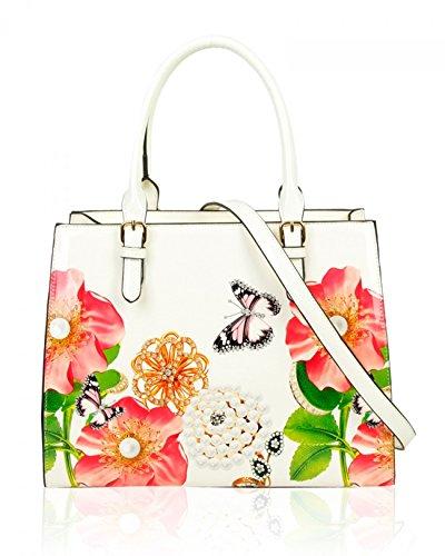 LeahWard Damen Patent Flower Large Size Handtaschen Einkaufstasche für Frauen Urlaub 605 (PERLE BUSINESS-TASCHE) PERLE BUSINESS-TASCHE