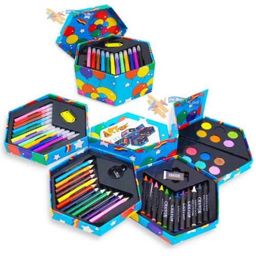 childrens-craft-art-artist-set-crayons-pens-paints-pencils-apron-smock-no-mess-hexagonal-box