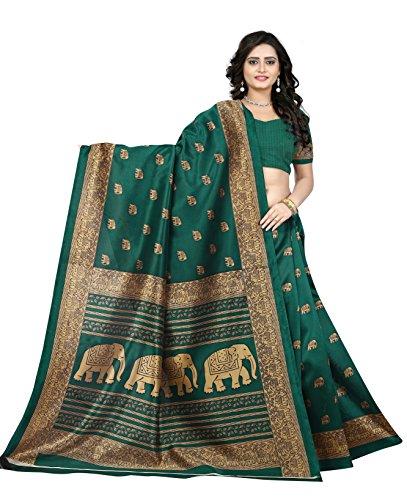 Jaanvi Fashion Women's Art Silk Elephant Motifs Kalamkari Printed Saree (Green)