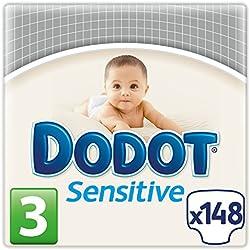 Dodot Sensitive, Talla 3, 2 packs de 74 [148 pañales]