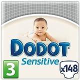 Dodot Sensitive - Pañales para bebés, talla 3 (4 - 10 kg), 2 packs de 74, 148 pañales