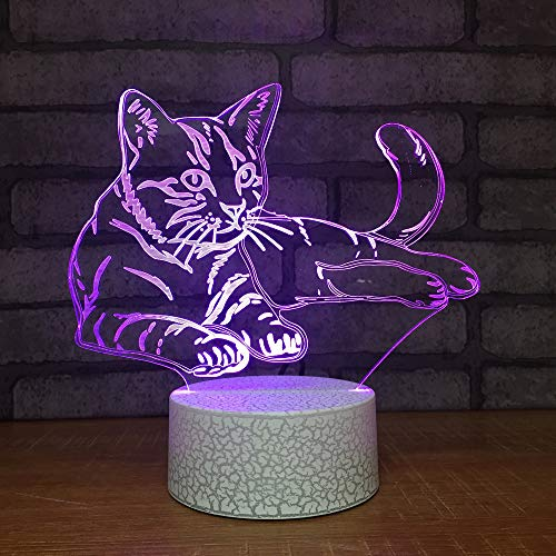 3D Katze Optische Illusions-Lampen, Tolle 7 Farbwechsel Acryl berühren Tabelle Schreibtisch-Nachtlicht mit USB-Kabel für Kinder Schlafzimmer Geburtstagsgeschenke Geschenk