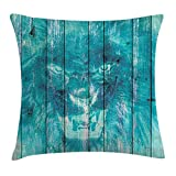 Animal Throw Pillow Cushion Cover, Silhouette of a King Lion Tiger on Wooden Oak Planks Hippie Style Retro Image Print, Decorative Square Accent Pillow Case, 18 X 18 Inches, Cadet Blue
