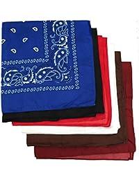 BOOLAVARD 100% Baumwolle, 1er 6er, oder 12er Pack Bandanas mit original Paisley Muster   Farbe nach Wahl Headwear / Haar Schal Ansatz Handgelenk Verpackungs Band Kopf Bindung