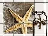 creatisto Bad-Sticker, Badezimmer-Fliesen   Fliesenaufkleber Folie Sticker Küche Bad Fliesenmuster Kellerfliesen   20x20 cm Design Motiv Starfish - 9 Stück