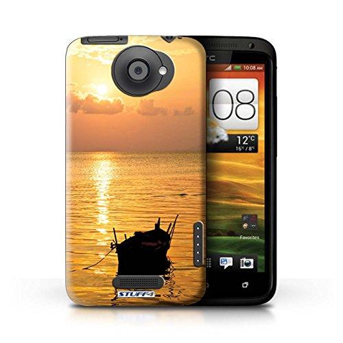 Kobalt® Imprimé Etui / Coque pour HTC One X / Chaîne de montagne conception / Série Coucher du Soleil Bateau de pêche