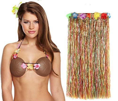 Labreeze Damen Kunststoff Kokosnuss-BH mit Multi Hula Rock Hawaiian Beach Party Set