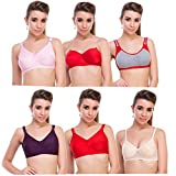 New Care cotton mix Women Bra pack of 6 in Multicolor