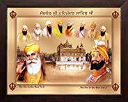 Art n Store Ten Sikh Gurus and Golden Temple HD Printed Religious & Wall Decor Painting with Plane Brown F