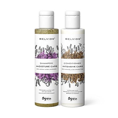 BELVIDE® Natur Shampoo und Natur Conditioner Set mit Bio Arganöl · für trockene Haare · je 200ml
