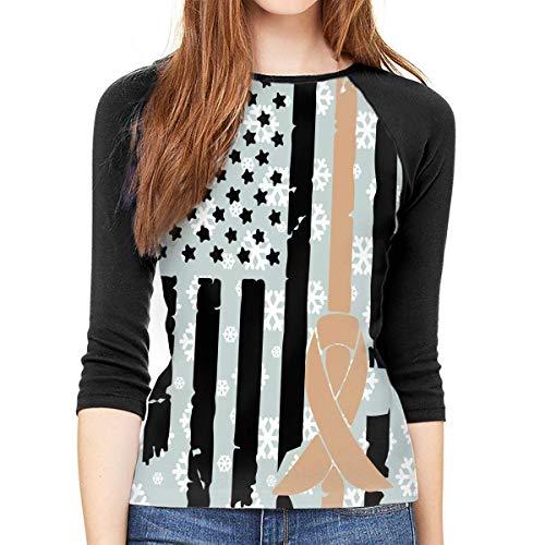 FHddg Childhood Cancer Awareness USA Flag Women 3/4 Sleeve Raglan Tshirt -