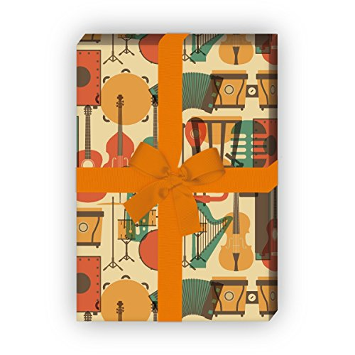 Cooles Geschenkpapier mit Musik Instrumenten für tolle Geschenk Verpackung und Überraschungen (4 Bogen, 32 x 48cm), auf gelb