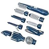 THEE 10 in 1 Haartrockner Haarglätter Lockenwickler Elektrisch Haarbürste Friseur Werkzeug,Blau