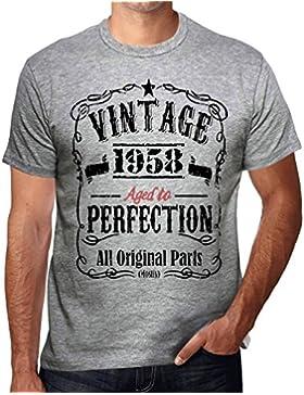 1958 Vintage Aged to Perfection Hombre Camiseta Gris Regalo De Cumpleaños