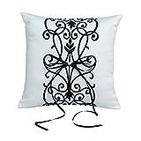 Ringkissen für die Hochzeit Weiß, Kissen für Trauringe mit Blumen Ornamenten in Schwarz, 19 x 20 cm