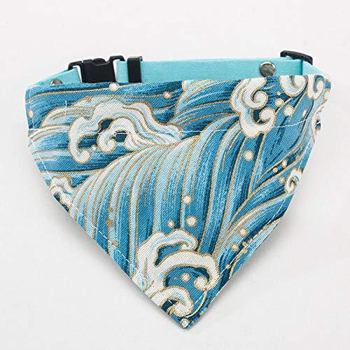 THFPetting Productos para MascotasEtiqueta de Perro pequeña Colgando Collar de Perro Bufanda triángulo muñeca Joyería británica de Gato Corto - mar Azul Claro_M-Medio