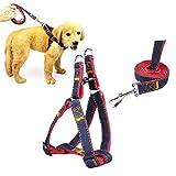 fightingeveryone1O No Pull Verstellbare Hundegeschirr Weste Heavy Duty Denim Pet Leine-Set für große/medium/kleine Hunde/Katzen