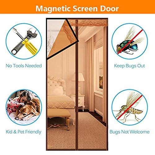 QF F & F verstärkter Magnetischer Bildschirm Tür Mesh Türen Bildschirm mit Rahmen Klettverschluss Bildschirm Tür Hände frei, haustierfreundlich 95x210cm(37x83inch)