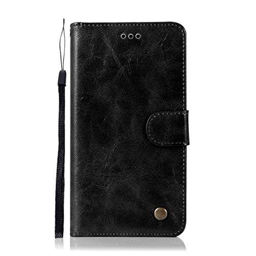 Chreey ASUS Zenfone 3 Max ZC553KL Hülle, Premium Handyhülle Tasche Leder Flip Case Brieftasche Etui Schutzhülle Ledertasche, Schwarz