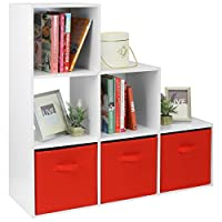 Hartleys White 6 Cube Unit & 3 Red Storage Drawers