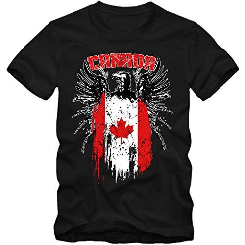 Canada Adler #2 Premium T-Shirt Kanada Flagge Weißkopfseeadler Herren Shirt, Farbe:Schwarz (Deep Black L190);Größe:XL (2 Weißkopfseeadler)
