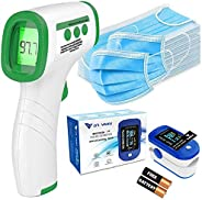 DR VAKU® 3in1 Pack includes 1x Fingertips Pulse Oximeter | 1x Non-Contact Infrared Digital Thermometer | 50x N