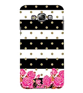 Black and White Layer Pattern with Flowers 3D Hard Polycarbonate Designer Back Case Cover for Samsung Galaxy E7 (2015) :: Samsung Galaxy E7 Duos :: Samsung Galaxy E7 E7000 E7009 E700F E700F/DS E700H E700H/DD E700H/DS E700M E700M/DS
