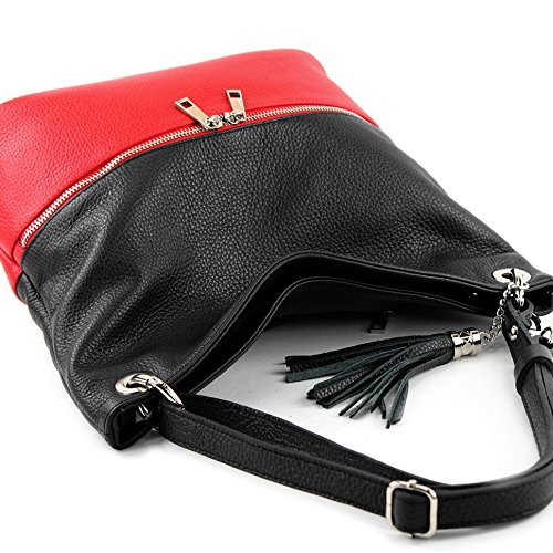 modamoda de -. Ital signore borsa in pelle tracolla borsa tracolla in pelle borsa T143 Schwarz/Rot