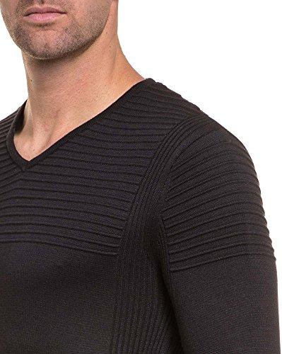 BLZ jeans - schwarzen Pullover vereint gerippter Kragen Trend V Schwarz
