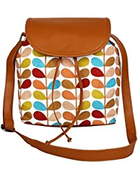 Suprino Beautiful Printed Cotton Canvas With Pu Flap Sling Bag For Girls And Women (leaf Multi Print)