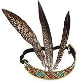 Xiton Bandeau élastique de Plumes colorées Bandeau de Cheveux Indien à la Main (Couleur aléatoire) 1pcs
