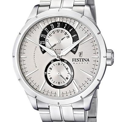 Festina Klassik Multifunktion F16632/1 - Reloj analógico de cuarzo para hombre, correa de acero inoxidable color plateado (agujas luminiscentes) de Festina