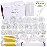 47 pcs Fondant Cutters Tools Sedhoom Catalina Fondant Molds Cake Decorating Tool Set with Rolling Pin Smoother Embosser Moulds