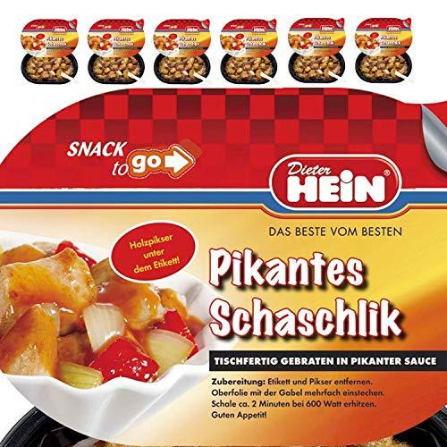 Schaschlik in pikanter Sauce-frisches, gebratenes Schweinefleisch mit Paprika und Zwiebeln in Original Schaschlik 6 Menüschalen a, 200g alternative zu Currywurst +++NEU+++ von Dieter Hein