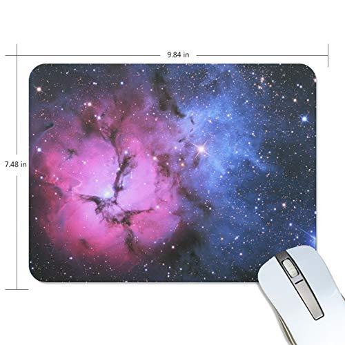 FAJRO Schreibtisch-Mauspad mit rotem und blauem Licht, Galaxie-Muster, rutschfeste Gummiunterseite und Jersey-Oberfläche für Büro, Zuhause - Galaxy Jersey