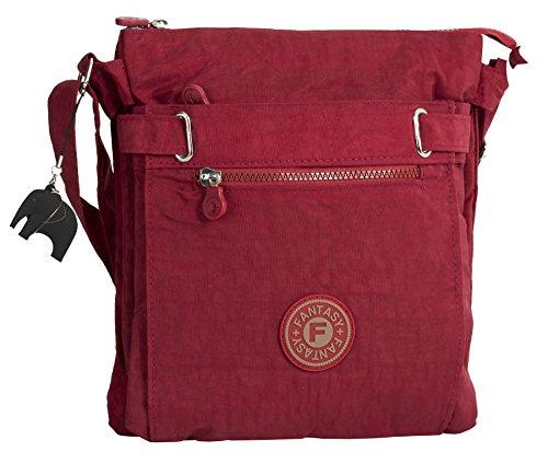 BHBS Stoff Mehrere Reißverschlüssen gesamten Körper Bote Handtasche 26 x 30 x 2 cm (B x H x T) rot