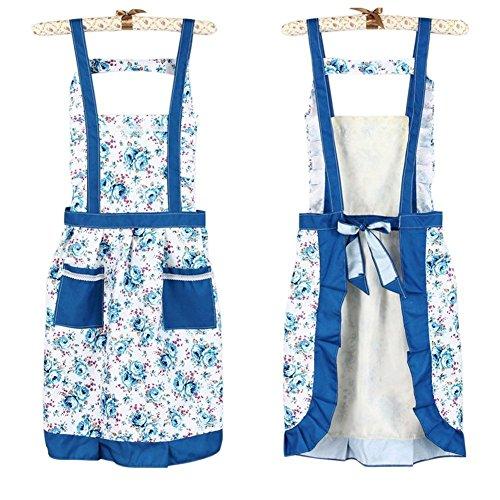 hugestore floreale Vintage pastorizia cottura Cook Chef Bib Grembiule con tasca per le donne Blue