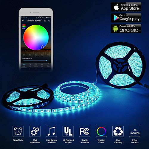 WitTorch Led Strips Lights 32.8ft (10m) Alexa Wifi Smart LED Strip With Alexa Wifi Wireless Remote Smartphone Controlled RGB Music Smart LED Light Strip Waterproof for Kitchen Wall Mirror Home Decoration Lighting